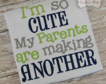 My Parents Are So Cute They Are Making Another Embroidered Shirt or Bodysuit in Navy, Green, and Gray