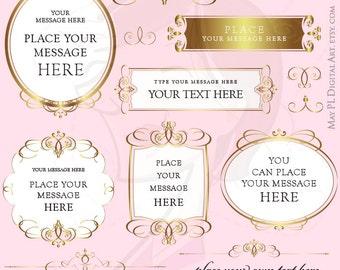 Gold Frames Clip Art COMMERCIAL USE VECTOR Business Calligraphy Swirls Classic Elegant Wedding Symmetrical Design Scrapbook Jpg Png 10260