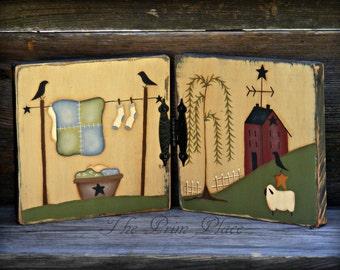 Primitive  Hand Painted Home Decor ~ Laundry Room Decor ~ Primitive Sheep ~ Saltbox House ~ Folk Art ~ Table Sitter ~ Shelf Decor