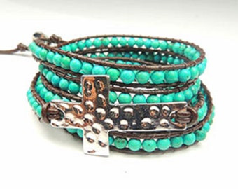 Turquoise Beaded Wrap Bracelet with a Silver Metal Cross, Wrap Bracelet, Summer Fashion Bracelet, Silver Cross Bracelet, Silver Cross,
