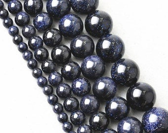 Blue Goldstone Beads - Round beads - PICK SIZE 4mm, 6mm, 8mm, 10mm - 15 inch strand- Round Beads, Blue Gemstone Beads, Semi Precious Beads