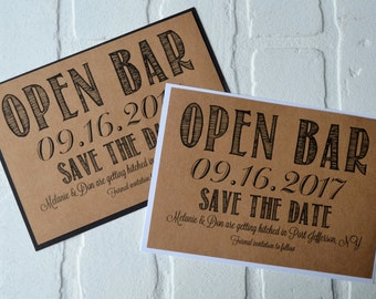 Open Bar Save the Date Cards funny kraft rustic save-the-date cards kraft funny save the date invitation fun save the dates card alcohol