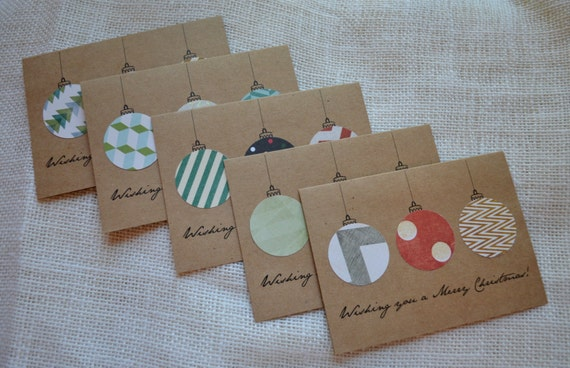 WISHING you a MERRY CHRISTMAS ornament holiday cards kraft christmas cards set of 5 note cards Christmas ornaments holiday cards xmas cards