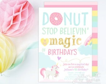 Donut Stop Believin' Unicorn Invitation / Donut Invitation / Unicorn Invitation