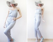 Silver grey sexy tiny strap romper one piece jumpsuit overall XS