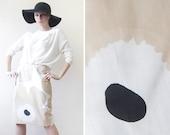 MARIMEKKO vintage beige white black cotton naive flower print mid waist pencil skirt S-M