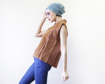 Vintage brown real leather suede crochet patchwork sleeveless vest top L