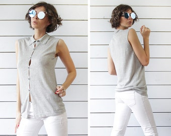 BENETTON Vintage minimalist grey sem sheer linen sleeveless button down shirt top S