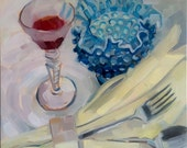 Cranberry Juice with Crystal and Linen Original Oil Painting