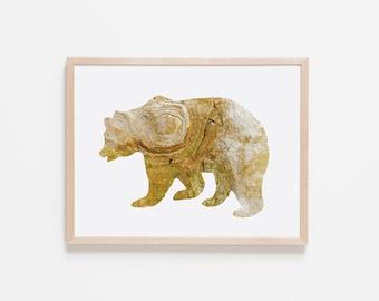 Citron Stone Bear Nursery Art. Nursery Wall Art. Nursery Prints. Nursery Decor. Animal Wall Art. Adventure Nursery. Bear Wall Art.