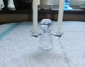 Vintage Swedish glass candleholder for two candles - Girl in Folk costume