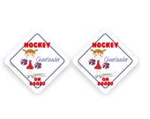 2X Hockey Cheerleader On Board car stickers - red blue and white - kids personalized car bumper sticker - CD45S