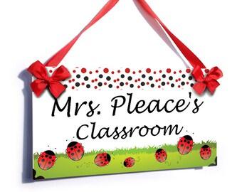 personalized teacher classroom door sign - earthy ladybugs themed plaque - P731