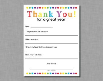 Teacher Thank You letter end of school year gift Instant Download pdf