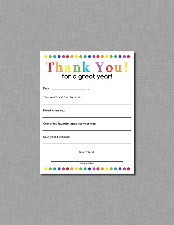 Teacher Thank You Letter End Of School Year Gift Instant