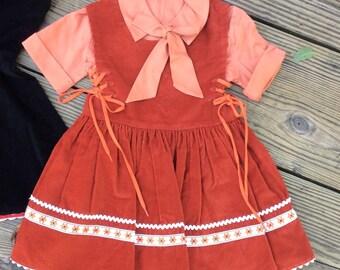 Vintage 1950's Autumn Days Little Girls Pumpkin Corduroy Dress sz 4