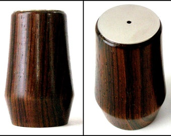 MCM Danish ROSEWOOD Salt Pepper Set 2in Stainless Steel Top Double Taper Body Danish Modern Scandinavian Dining Individual Original Stoppers