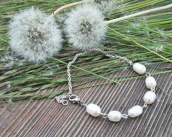 Pearl bracelet chain, Natural freshwater pearls, Bridal Bride bracelet, wedding jewelry, Beaded Bracelets, bridesmaid jewelry, Graduation