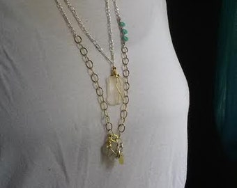 Sea Glass Sterling Silver and Gold Necklace