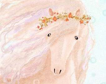 Nursery wall art animals, digital print,  girls room décor, horse painting, rose quartz pink pastel