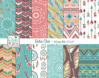 Boho Chic Digital Papers, Tribal Roses Scrapbook Paper - Boho Style Papers - Ethnic Background - Hippie Papers - INSTANT DOWNLOAD