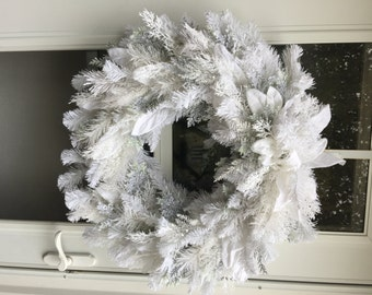 White Flocked artifcial Holiday Wreath
