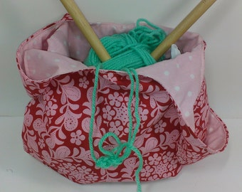 Japanese knot bag,  knit and crochet favorite in farmers market red and pink print