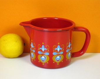 Small vintage pitcher, red enamel, finel-alike jug, heart and flower print, 1970s kitchen