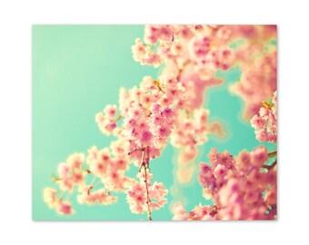 SALE Cherry blossom art, flower photography, canvas art, large art, canvas wall art, flower print, pink wall art, turquoise wall art,pop art