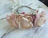 NEW- Vintage rose Flower Crown- flower hair wreath- boho Crown- Flower Girl Headband- blush Headband-Girls Headband-Hair Bow