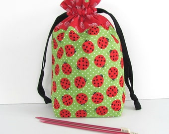 Knitting Bag, Crochet Drawstring Bag, WIP Tote Project Bag - Red Lady Bugs