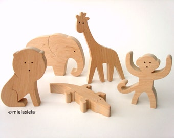 Wooden jungle animals - Elephant, Lion, Monkey, Giraffe, Crocodile - Rainforest animals - Holztiger wooden animals