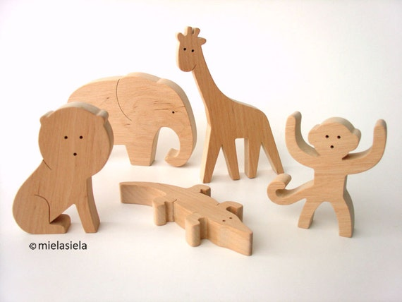 Wooden jungle animals Elephant Lion Monkey Giraffe