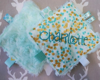 Baby girl toys, crinkle sound toys, set of two, mint/teal greens and gold, personalized with a name,2  teething links,Babies love these.