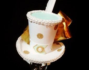 Mini top hat fascinater costume Alice in wonderland mint green white and gold polka dot print