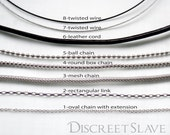 Necklace, day collar, symbolic collar, discreet collar for DiscreetSlave pendants and day collars.
