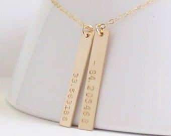 Latitude Longitude Gold Bars Necklace, Personalized Vertical Coordinates, Mom Sister Aunt Grandma, Kids Names, Handstamped, Mothers Day