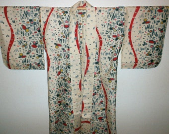Antique kimono - Meisen, Abstract pattern, Unlined