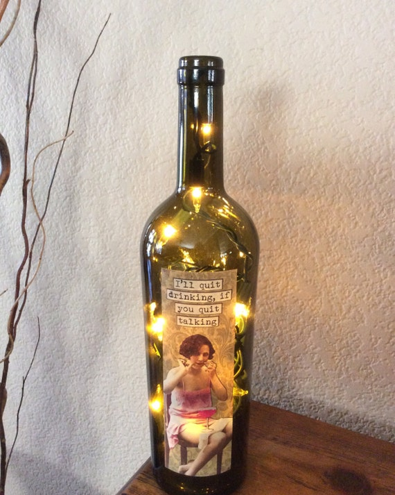 Wine bottle light home decor recycled wine gift by for Decor drink bottle