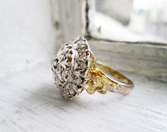 Antique Two-toned Big Round Ring with Rough Cut Diamonds Silver on Top and 8K Gold at the bottom in US Ring Size 5.5