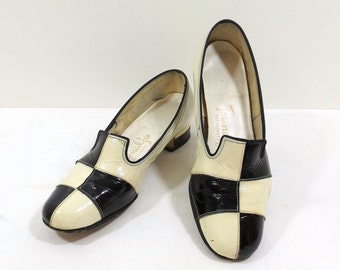 PENALJO Black and White Patent Leather Pumps Size 6W 6 Wide Width