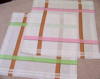 Set of 2 Vintage Hankies Geometric