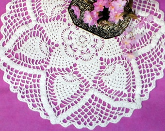 Cotton Crochet Doily Pattern, Table Mat, Pineapple Centerpiece