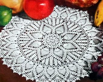 Double Pineapple Doily Pattern, Crochet Cotton Table Mat Pattern