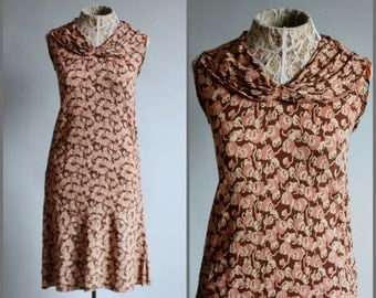 RARE 1920's Crepe Silk Flapper Drop Waist Day Dress