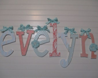 """NEW FONT - EVELYN - 12.00 per letter 8-1/2"""", girl nursery, lowercase letters, lowercase  name, teal, coral, nautical nursery, under the sea"""