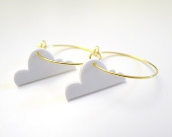 cloud gold hoop earrings