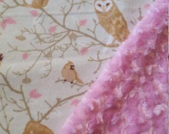 Minky Baby Blanket Flannel Owl baby blanket owl blanket stroller blanket carseat blanket