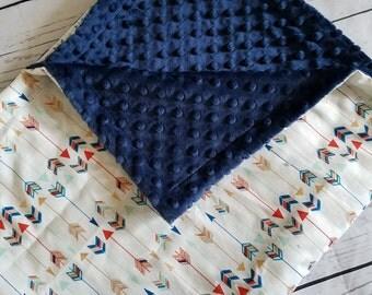 Gold Navy Arrow Baby Blanket Cotton Minky backing 19 colors Carseat Blanket Crib Blanket Minky Blanket