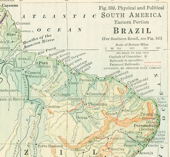 1930s brazil map print amazon river eastern south america map like this item sciox Images